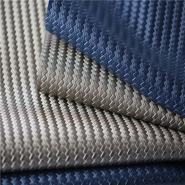 Woven Pattern Embossed PVC Leather Upholstery Fabric - 1107001-6680