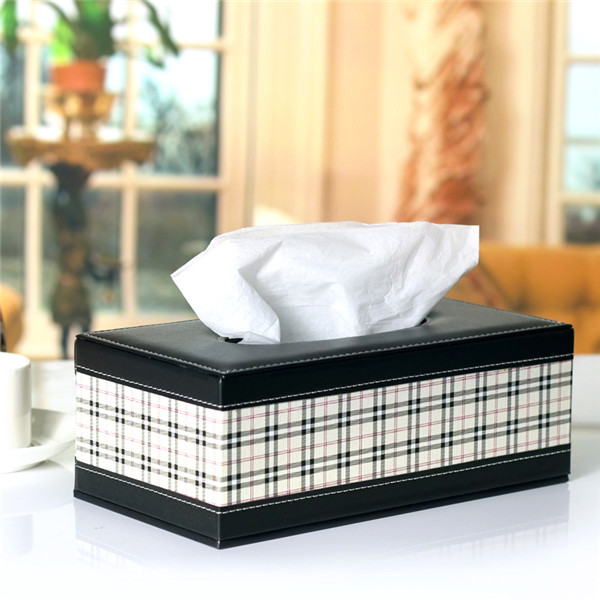 Wholesale Plaid PU Synthetic Leather Tissue Box Cover