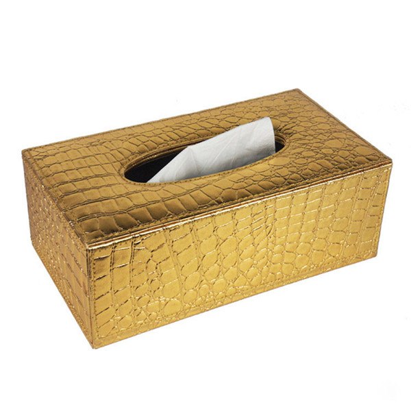 Deluxe Embossed Tissue Box Faux Leather Cover